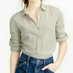 J. Crew Perfect Shirt in Cotton Linen Crosshatch